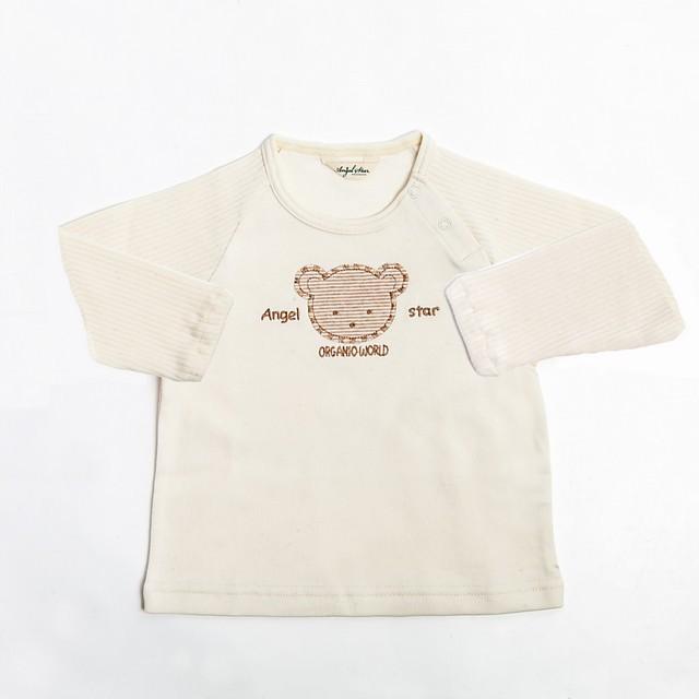 オーガニックコットン ラグラン切替長袖くまTシャツ