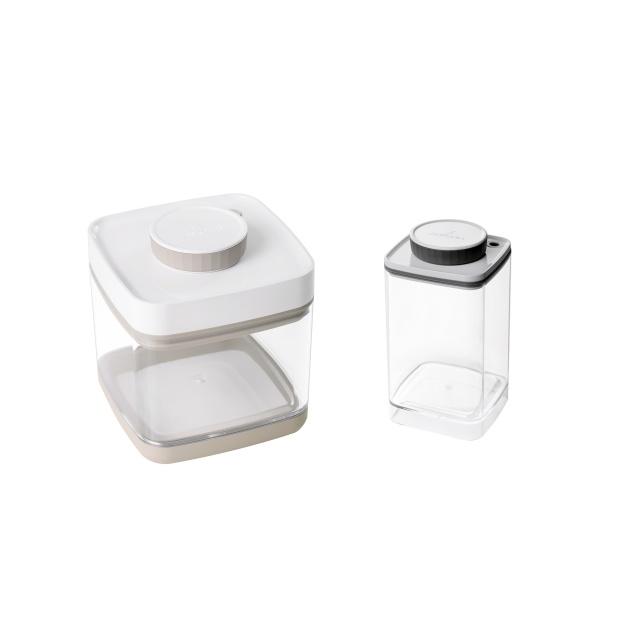 真空保存容器セビア1.5L×1個と真空保存容器ターンシール1.2L×1個