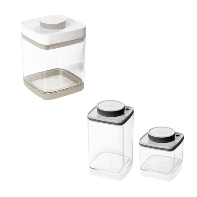 真空保存容器セビア2.4L×1個と真空保存容器ターンシール0.6L×1個と真空保存容器ターンシール1.2L×1個