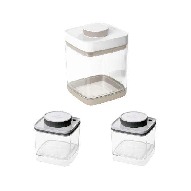 真空保存容器セビア2.4L×1個と真空保存容器ターンシール0.6L×1個