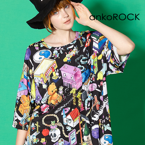 ankoROCK首つりネコを探せTシャツ -メガビッグ-