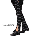 「ankoROCK RECORDS」ロゴ総柄サイドジップスキニー -スーパースリム-