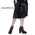 ankoROCKブラックサテンハーフパンツ -90sスケーター-