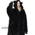 ankoROCKショートファー黒猫モッズコート -スーパービッグ-