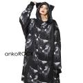 ankoROCKモノクローム黒猫ネコ耳モッズコート エクスクルーシブ -スーパービッグ-