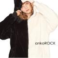ankoROCK アシンメトリーモノクロショートファーパーカー -スーパービッグ-
