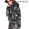 ankoROCKモノクローム黒猫ボリュームネックフード中綿ジャケット -スーパービッグ-