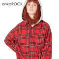 ankoROCKドッキングフーディータータンチェックネルシャツ -スーパービッグ-