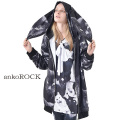 ankoROCKモノクローム黒猫ウサギパーカー エクスクルーシブ -スーパービッグ-