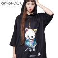 ankoROCK首つりネコ半袖プルオーバーパーカー -スーパービッグ-