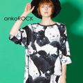 ankoROCKモノクロアニマルネコTシャツ -メガビッグ-