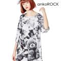 ankoROCKモノクロアニマルテディベアTシャツ -メガビッグ-