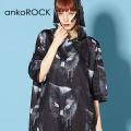 ankoROCKモノクローム黒猫半袖プルオーバーパーカー -スーパービッグ-