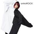 ankoROCKアシンメトリーモノクロアノラックパーカー