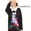 ankoROCKホラーナイトオバケネコシャツ襟カットソー -メガビッグ-