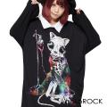 ankoROCKホラーナイトガイコツネコシャツ襟カットソー -メガビッグ-