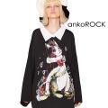 ankoROCKホラーナイトケットシーネコシャツ襟カットソー -メガビッグ-