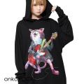 ankoROCKギターネコ THE CATSBANDスウェットプルオーバーパーカー -スーパービッグ-