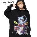 ankoROCKドラムネコ THE CATSBANDスウェットプルオーバーパーカー -スーパービッグ-