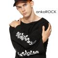 ankoROCKモノクロフラワー刺繍カットソー -メガビッグ-