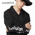 ankoROCKモノクロフラワー刺繍開襟シャツ -スーパービッグ-