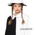 ankoROCKアシンメトリーモノクロシャツ襟カットソー -メガビッグ-