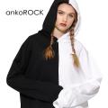 ankoROCKアシンメトリーモノクロプルオーバーパーカー -スーパービッグ-