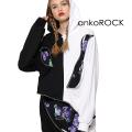 ankoROCKアシンメトリーモノクロクレイジージッププルオーバーパーカー -スーパービッグ-