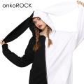 ankoROCKアシンメトリーモノクロウサ耳パーカー -スーパービッグ-