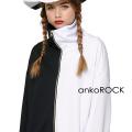 ankoROCKアシンメトリーモノクロボリュームネックジャージ -スーパービッグ-