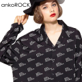 「ankoROCK RECORDS」ロゴ総柄開襟シャツ -スーパービッグ-