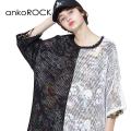 ankoROCKアシンメトリーモノクロメッシュTシャツ -メガビッグ-