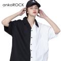 ankoROCKアシンメトリーモノクロ半袖開襟シャツ -スーパービッグ-