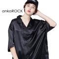 ankoROCKブラックサテン半袖開襟シャツ -スーパービッグ-