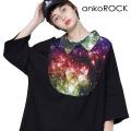 ankoROCKギャラクシーラウンドシャツ襟Tシャツ -メガビッグ-