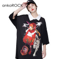 ankoROCK喫煙赤ずきんシャツ襟Tシャツ -メガビッグ-