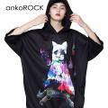 ankoROCKホラーナイトオバケネコ半袖プルオーバーパーカー -スーパービッグ-