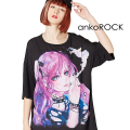 ankoROCK水彩スモーキングガールTシャツ -メガビッグ-