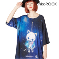 ankoROCK宇宙柄首つりネコTシャツ -メガビッグ-