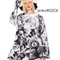 ankoROCKモノクロアニマルテディベアシャツ襟カットソー -メガビッグ-