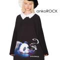 ankoROCKスモーキングパンダシャツ襟カットソー -メガビッグ-