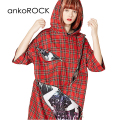 ankoROCKクレイジージップタータンチェック半袖プルオーバーパーカー -スーパービッグ-