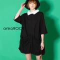 ankoROCKサイドコード変形ドレープシャツ襟Tシャツ -メガビッグ-