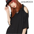 ankoROCKオープンショルダー開襟シャツ -メガビッグ-