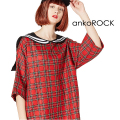 ankoROCKタータンチェックラインセーラーTシャツ -メガビッグ-