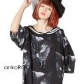 ankoROCKモノクローム黒猫ラインセーラーTシャツ -メガビッグ- SALE