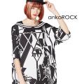 ankoROCK絵画ラインセーラーTシャツ -メガビッグ-