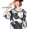 ankoROCKモノクロアニマルネコラインセーラーTシャツ -メガビッグ- SALE