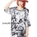 ankoROCKモノクロアニマルテディベアラインセーラーTシャツ -メガビッグ-