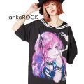 ankoROCK水彩スモーキングガールラインセーラーTシャツ -メガビッグ-